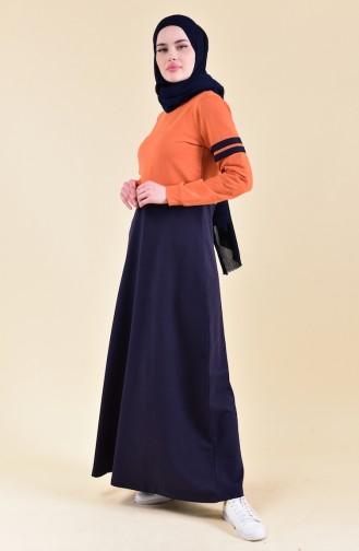 بي وست فستان رياضي بتصميم مُخطط 9040-01 لون برتقالي 9040-01