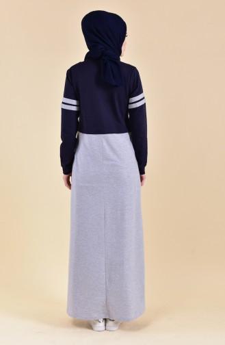 Şeritli Spor Elbise 9040-04 Lacivert