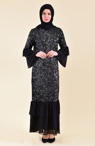 Payetli Elbise 3871-02 Siyah Gümüş Gri