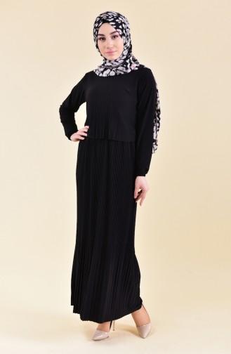 Piliseli Elbise 5248-01 Siyah 5248-01