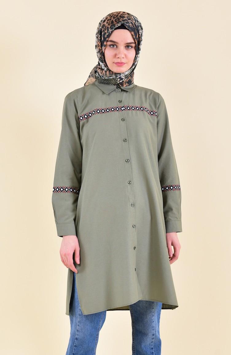 0a9322dbd8c Minahill Embroidered Tunic 8223-03 Khaki 8223-03