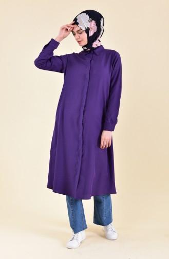 Oyya Hidden Button Viscose Tunic 8121-13 Purple 8121-13