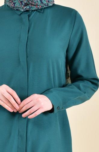 Gizli Patlı Viskon Tunik 8121-14 Zümrüt Yeşili