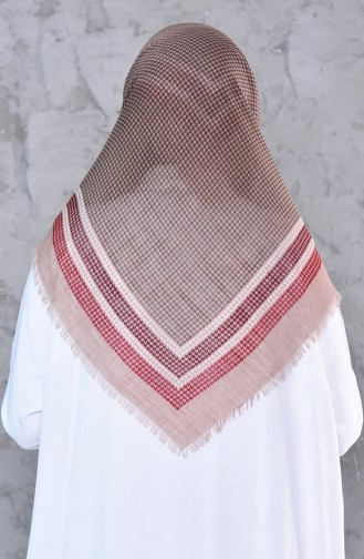 Patterned Decorated Cotton Shawl 2190-15 light Mink 2190-15