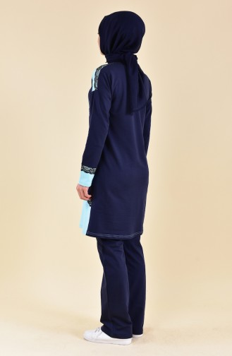 Lace Detailed Tracksuit 1415-02 Navy Blue 1415-02