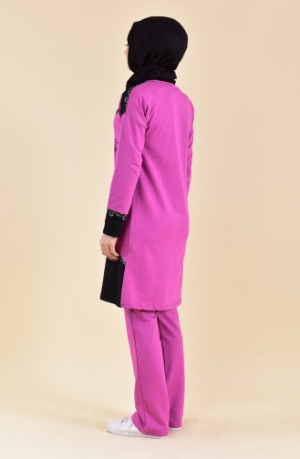Lace Detailed Tracksuit 1415-04 Lilac 1415-04