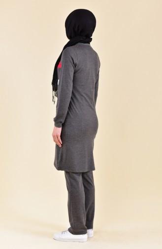 بي وست بدلة رياضية بتصميم سحاب 8312--06 لون اسود مائل للرمادي 8312-06