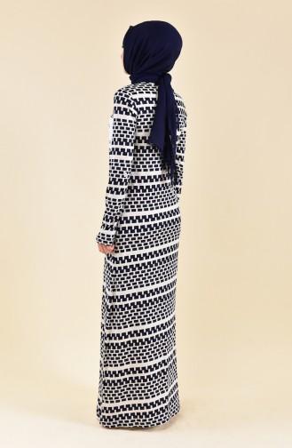 فستان صيفي بتصميم مُطبع 99178B-01 لون كريمي وكحلي 99178B-01