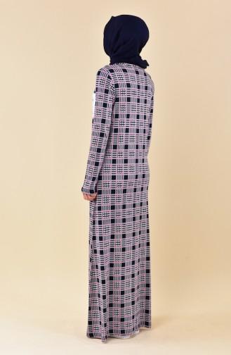Patterned Summer Dress 99178E-01 Powder Navy 99178E-01
