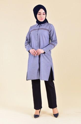 Pantalon Simple avec Poches 2062-02 Bleu Marine Foncé 2062-02