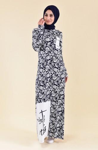 Robe D´été a Motifs 99178C-01 Bleu Marine Blanc 99178C-01