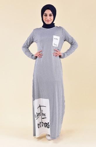 Robe D´été a Motifs 99178D-01 Blanc Bleu Marine 99178D-01