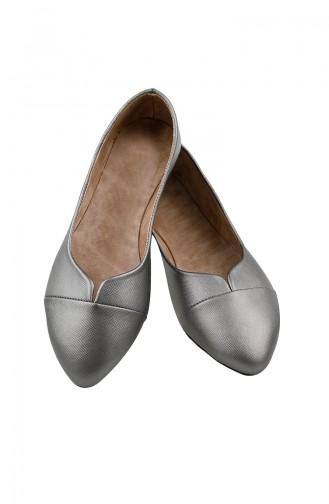 Silver Gray Woman Flat Shoe 0113-08