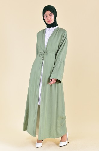 Waist Lace Up Abaya 7826-01 Almond Green 7826-01