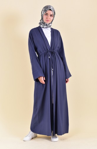 Abaya Taille Lacets 7826-04 Bleu Marine 7826-04