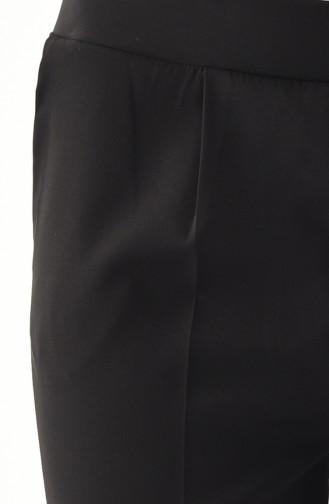 Cepli Düz Paça Pantolon 0881-02 Siyah