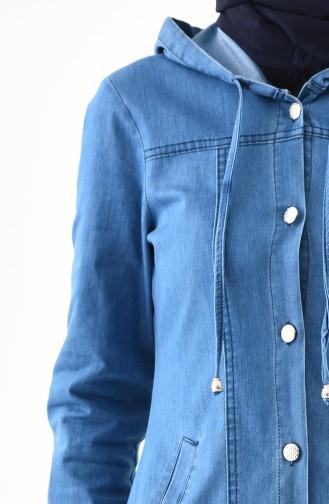 Jeans Hijab Mantel mit Kapuze 9050-02 Jeansblau 9050-02