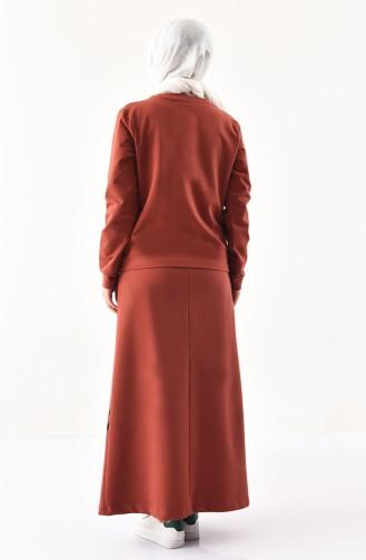 بي وست طقم بلوز وتنورة بتصميم مُطبع 9041-02 لون قرميدي 9041-02
