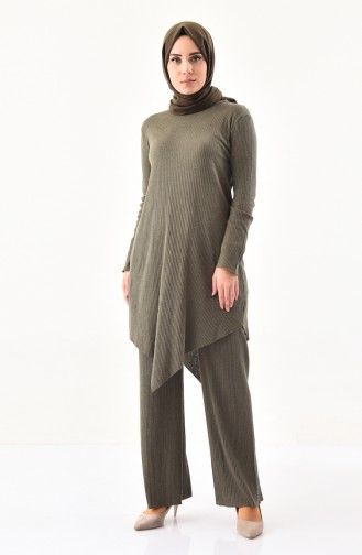 Asymmetric Tunic Pants Double Suit 3399-01 Khaki 3399-01