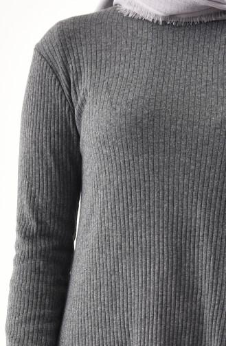 Asimetrik Tunik Pantolon İkili Takım 3399-02 Füme