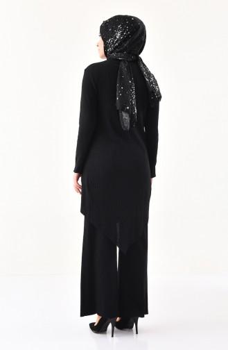 Asymmetric Tunic Pants Double Suit  3399-03 Black 3399-03
