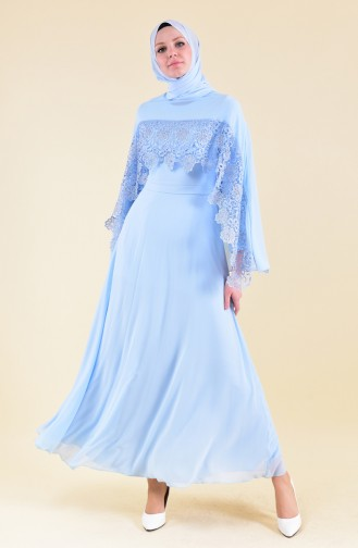 MISS VALLE  Cape Evening Dress 8422-01 Bebe Blue 8422-01