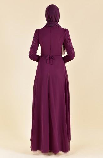 Robe de Soirée Perlées 8901-05 Plum Foncé 8901-05