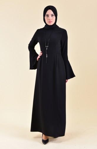 Kolyeli Elbise 2050-04 Siyah