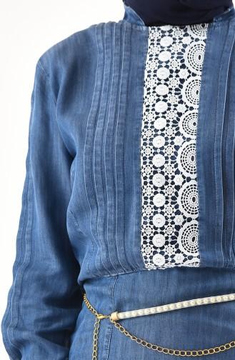 فستان جينز بتفاصيل من الدانتيل 2686-01 لون جينز ازرق 2686-01