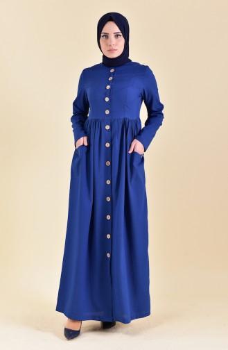 فستان بتفاصيل ازرار امامية 1001-06 لون نيلي 1001-06