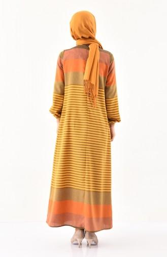 Çizgili A Pile Elbise 1010-02 Hardal