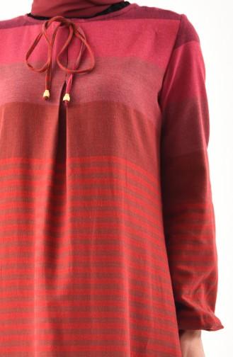 فستان بتصميم حزام وازرار 1010-04 لون قرميدي 1010-04