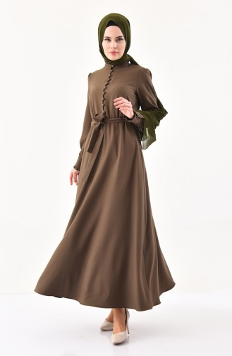 Knopf Detailliertes Kleid mit Band 1011-03 Khaki 1011-03