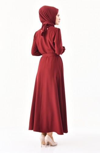 Knopf Detailliertes Kleid mit Band 1011-04 Weinrot 1011-04