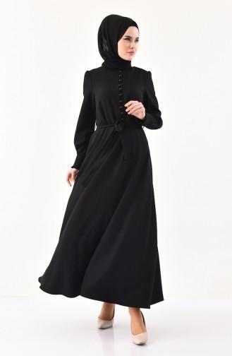 Robe a Ceinture Détail Boutons 1011-05 Noir 1011-05