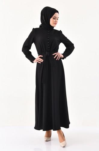 Button Detailed Belted Dress 1011-05 Black 1011-05