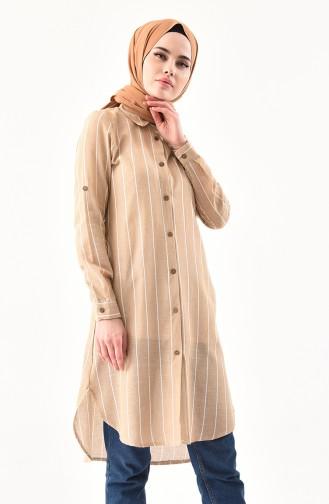 Çizgili Tunik 5409-03 Camel