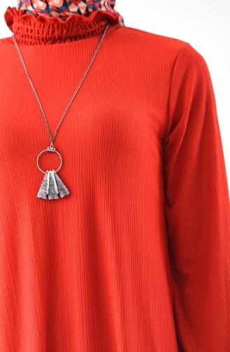 Lange Tunika mit Halskette 1017-04 Rot 1017-04