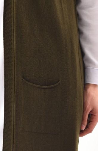 Gilet Tricot avec Poches 4128-02 Khaki 4128-02