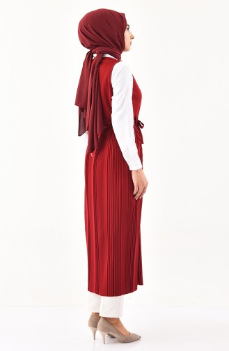 Pleated Vest 0054-04 Claret Red 0054-04