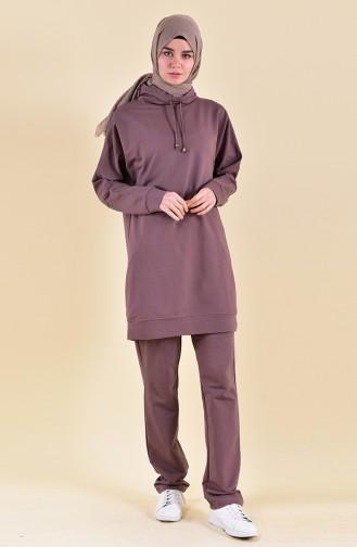 Kapüşonlu Eşofman Takım 8307-01 Kahverengi