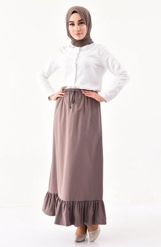DURAN Elastic Waist Frilly Skirt 1114-06 Dark Mink 1114-06