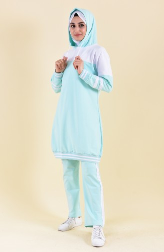 Hooded Tracksuit Suit 18086-12 Mint Green 18086-12