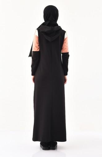 Baskılı Spor Elbise 8347-02 Siyah