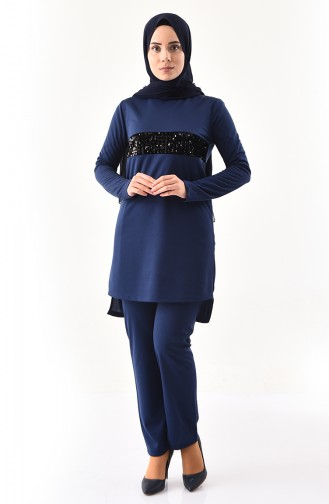 Sequin Detailed Tunic Pants Binary Suit 9001-04 Navy Blue 9001-04