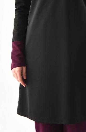 Ensemble Deux Pieces Tunique Pantalon 9002-01 Noir Pourpre 9002-01
