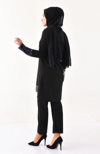 Payetli Tunik Pantolon İkili Takım 9055-01 Siyah 9055-01