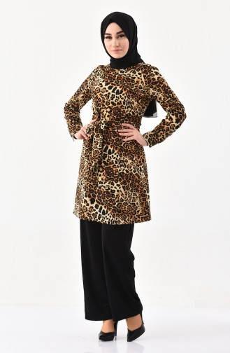 MISS VALLE  Leopard Patterned Tunic Trousers Double Suit 8330-01 Brown 8330-01