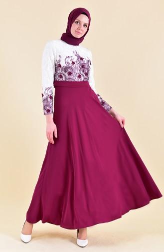 Flower Appliques Evening Dress 1047-02 Purple 1047-02