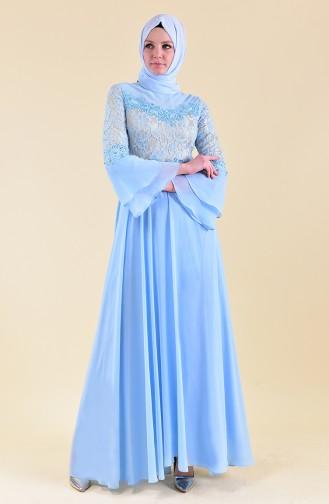 Robe de Soirée a Dentelle 1082-04 Bleu Bébé 1082-04